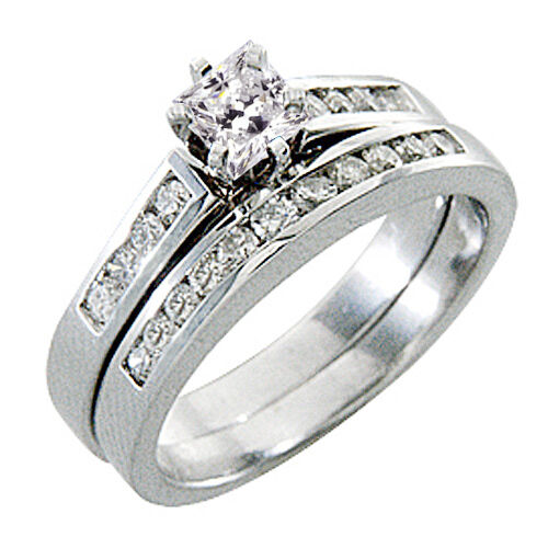 Womens diamond engagement ring wedding band bridal set for Ebay diamond wedding ring sets