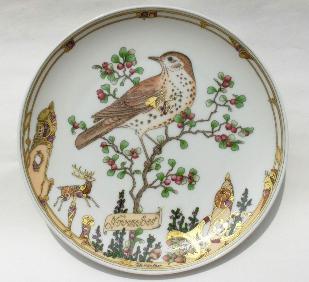 Vintage old german hand painted hutschenreuther decorative for Decoration plater