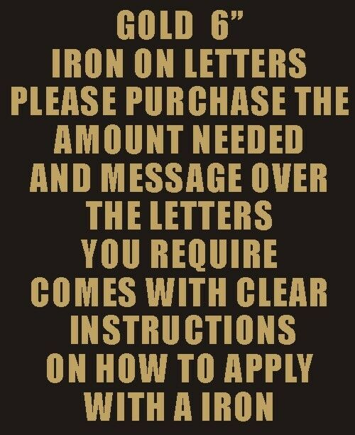 iron on letters and numbers pack of 2 x 6 quot gold iron on characters letters or 22594 | s l1000
