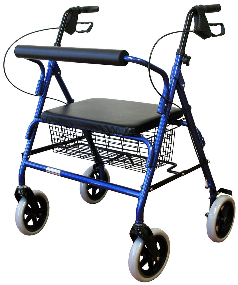Bariatric folding wide aluminum rollator walker new ebay for Mobility walker