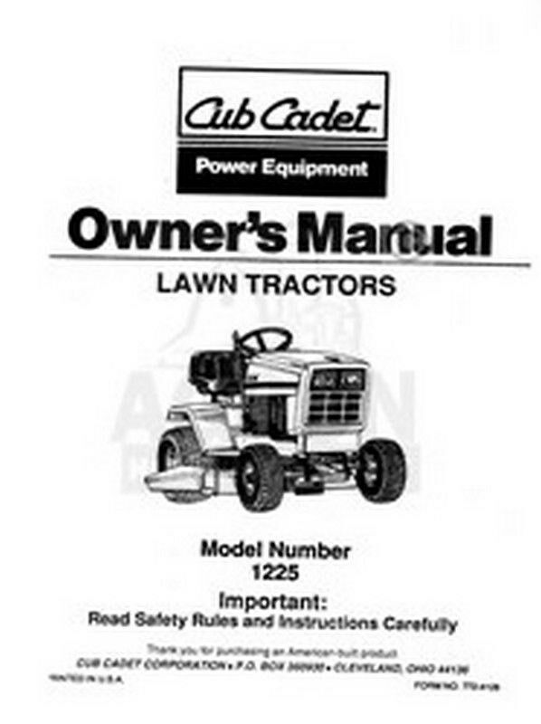 ih cub cadet model 1225 tractor owners operators manual ebay. Black Bedroom Furniture Sets. Home Design Ideas