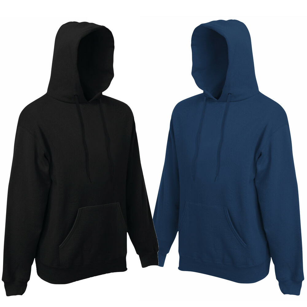 fruit of the loom hooded top hoodie navy or black s xxl ebay. Black Bedroom Furniture Sets. Home Design Ideas
