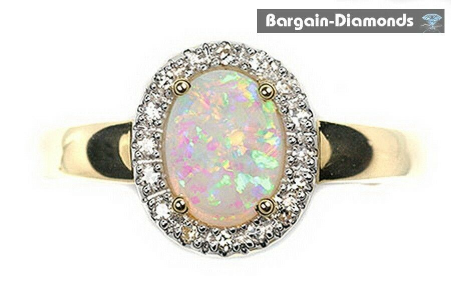 Harlequin solid opal diamonds 67 carats engagement 14k for Australian wedding rings