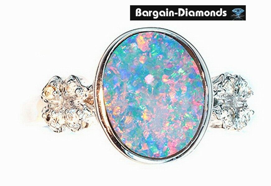 Harlequin Black Opal Diamond 14k Gold Ring Pink Engagement