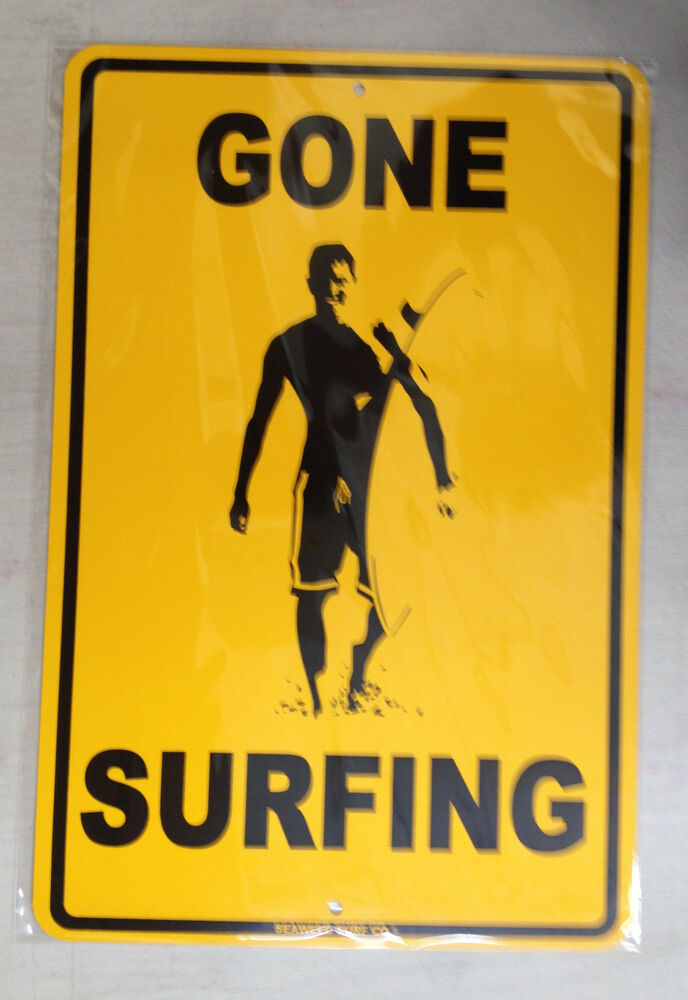 u0026quot gone surfing u0026quot  aluminum surf sign   new   beach art 18 u0026quot x12