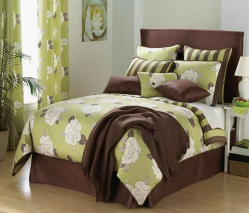 KEY LIME GREEN & BROWN LARGE FLORAL COMFORTER SET