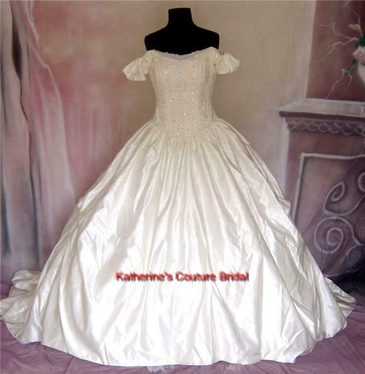 Wedding dress bridal sz 8 cinderella gown 38 in stock ebay for Cinderella wedding dress up