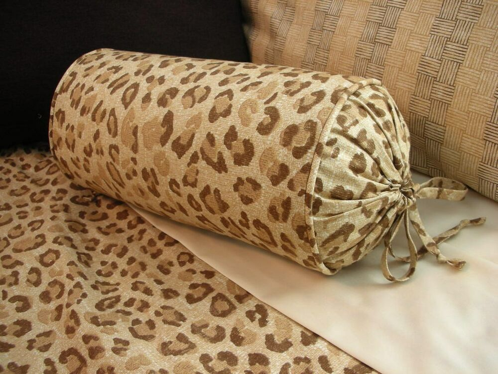 Decorative Bed Roll Pillows : NEW Custom Ralph Lauren Desert Retreat Leopard Neck Roll Pillow Neckroll Bolster eBay