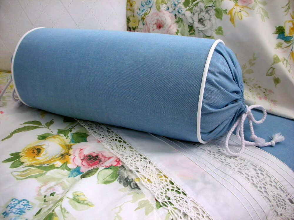 Decorative Bed Roll Pillows : NEW Custom Ralph Lauren Home Lake Blue Chambray Neck Roll Pillow Neckroll eBay