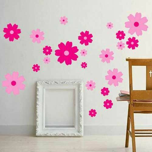 pink flowers wall stickers art decal girls bedroom decor pvc baby