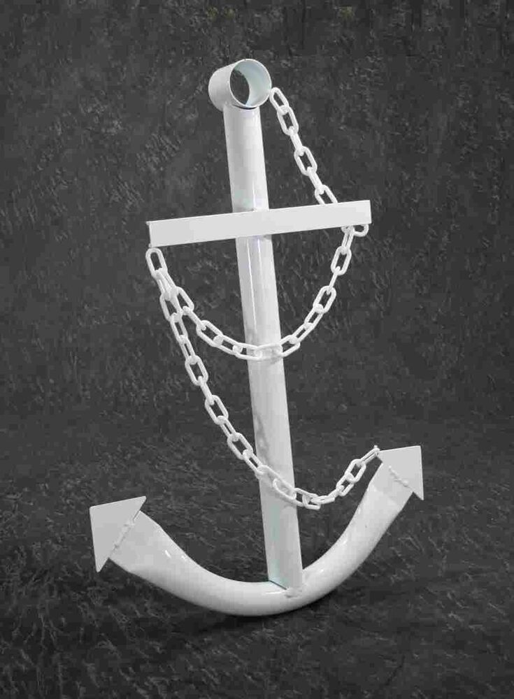 Nautical White Navy Anchor Metal Decorative Wall Yard Art