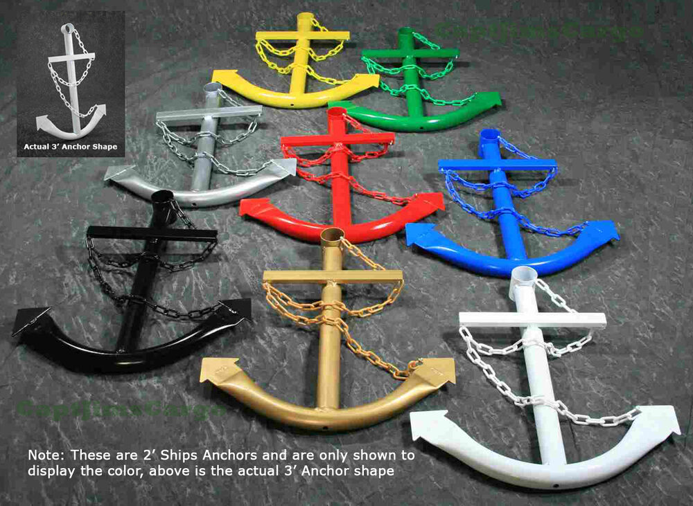 Metal ship boat anchor nautical wall art yard decor 3 39 ebay for Anchor decoration