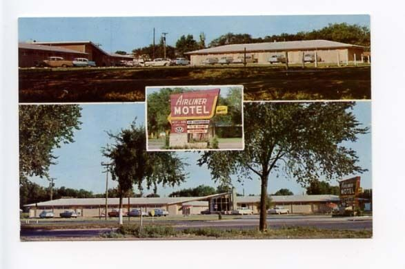 salina ks neon sign motel old cars postcard ebay. Black Bedroom Furniture Sets. Home Design Ideas