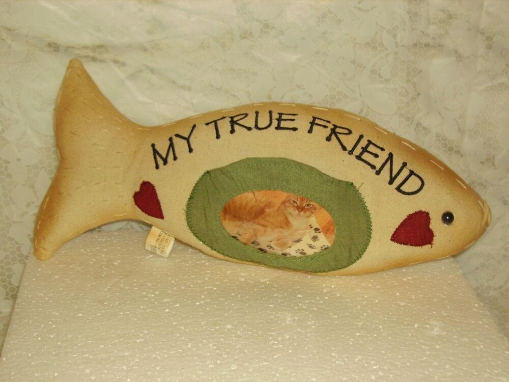 Cat pillow fish shaped with frame ebay for Fish shaped pillow