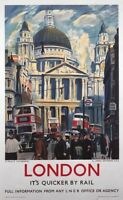 London, St Pauls Cathedral, Railway Travel Poster Print