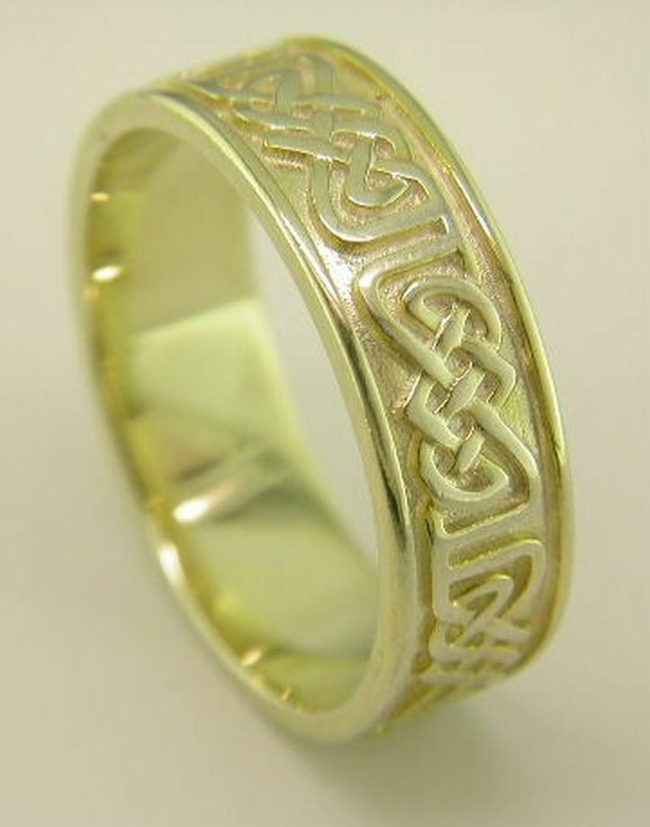 14k Yellow Gold Celtic Knot Design Wedding Band Ring All
