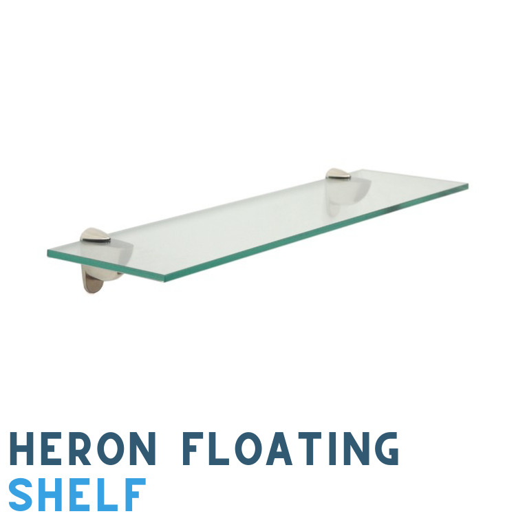 10 X 48 Heron Clear Floating Tempered Glass Shelf 3 8 Thick