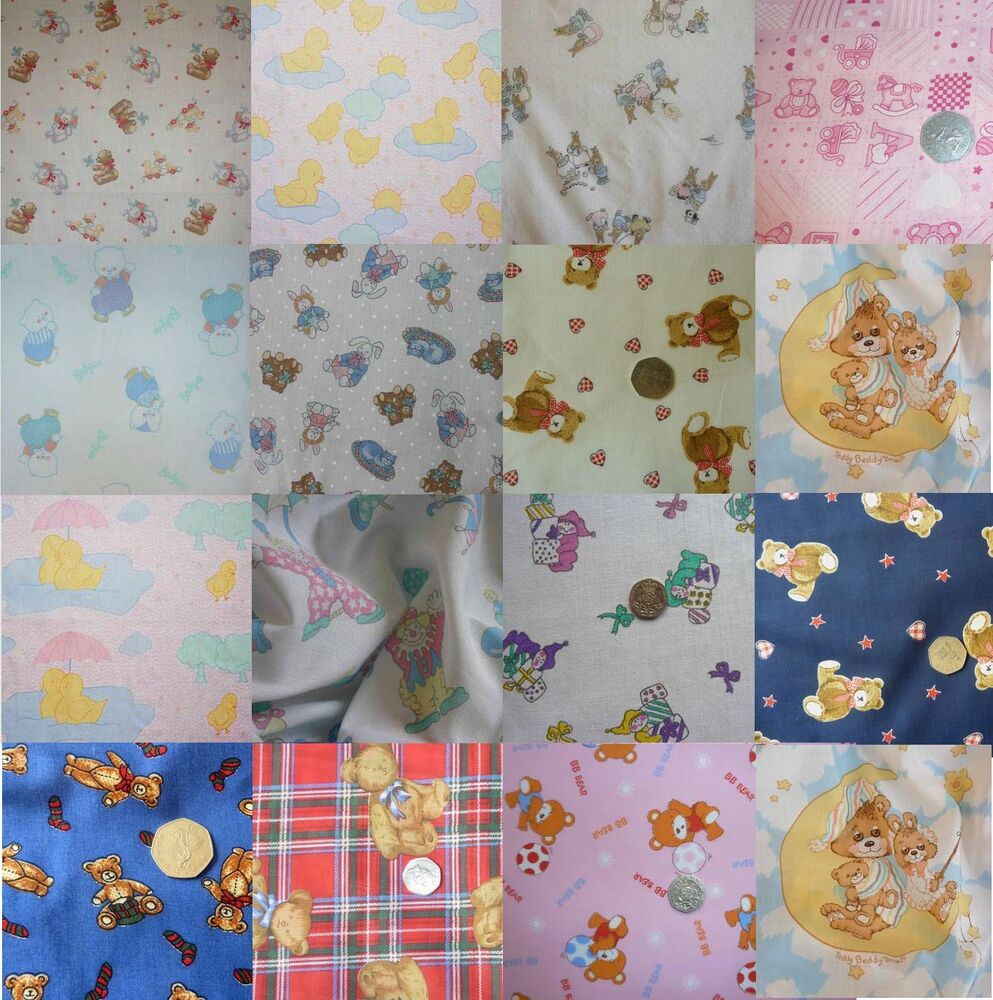 Nursery baby cot bedding bumper fabric various teddy clown for Nursery fabric uk