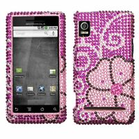Pink Blooming Bling Case Cover Motorola Droid 2 A955
