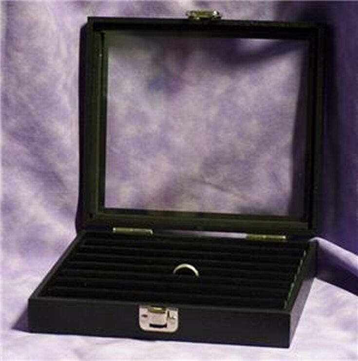 glass top jewelry display case box tufted ring insert ebay
