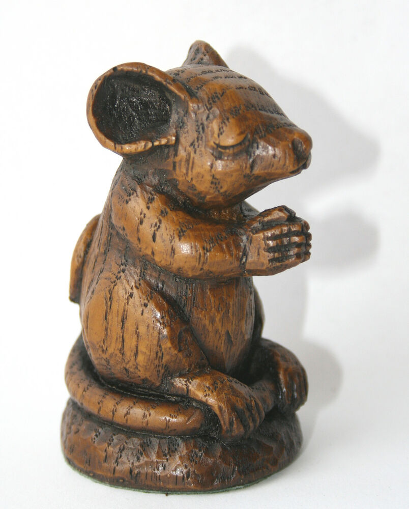 Church mouse praying ornament handmade mice carving unique