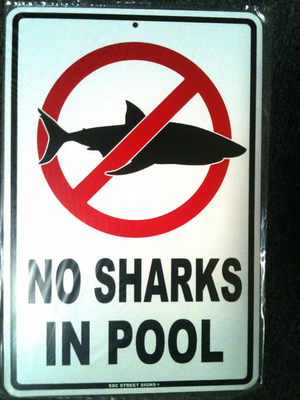 No Sharks In Pool Safety Swimming Sign Funny Warning Decor 18 X12 Ebay