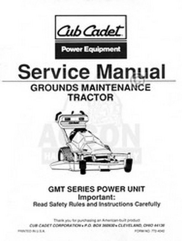 cub cadet gmt 085 125 150 ground tractor service manual