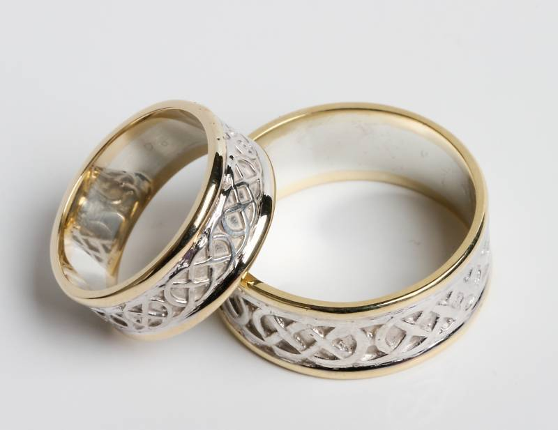 Pair Set Of Irish Handcrafted 14k Gold And Sterling Silver Celtic Wedding Rings | EBay