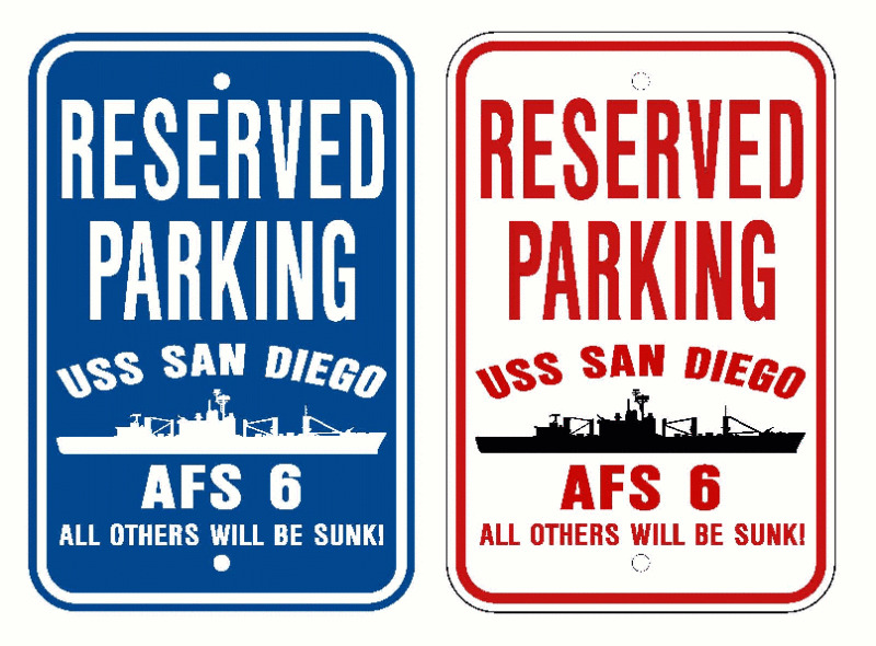 Uss San Diego Afs 6 Parking Sign U S Navy Usn Military Ebay