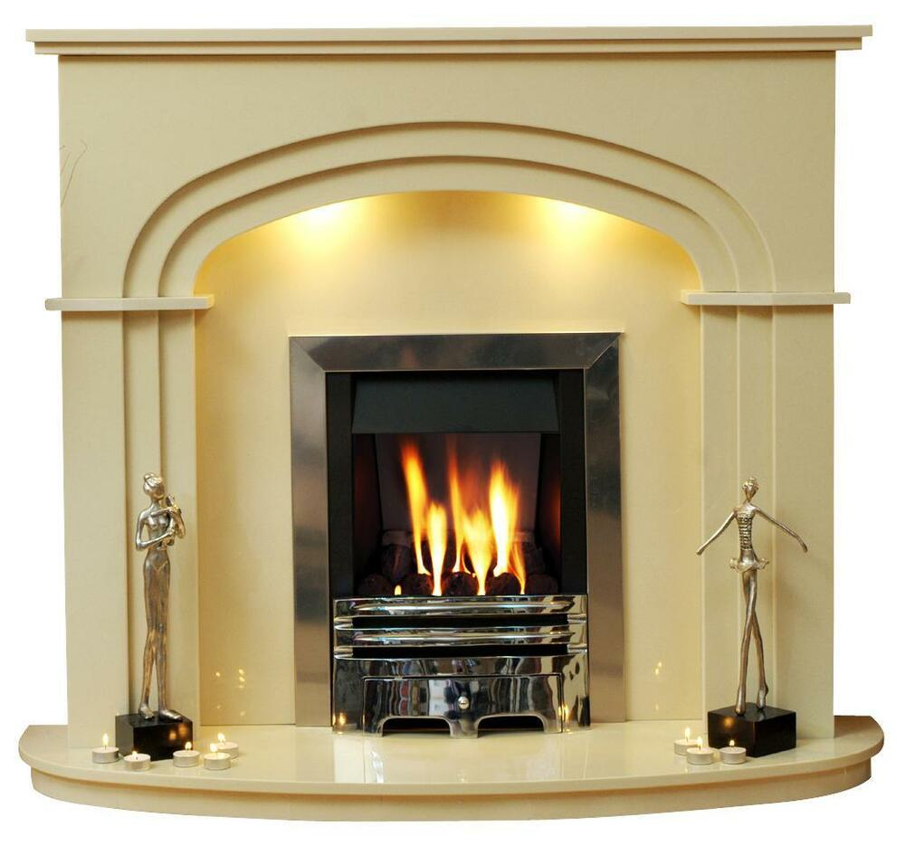 Shelbourne fire surround marble fireplace with lights ebay for Marble for fireplace surround