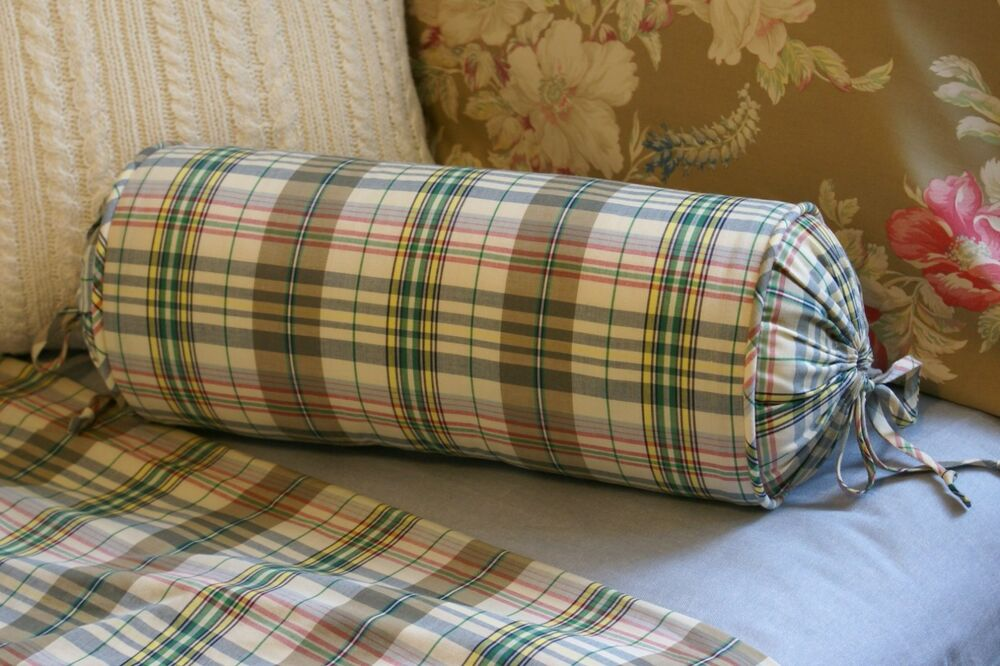 Decorative Bed Roll Pillows : NEW Custom Ralph Lauren Boathouse Madras Neck Roll Pillow Neckroll Bolster eBay