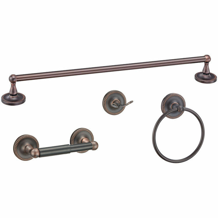 Naples oil rubbed bronze bath hardware set bathroom ebay for Bathroom hardware sets