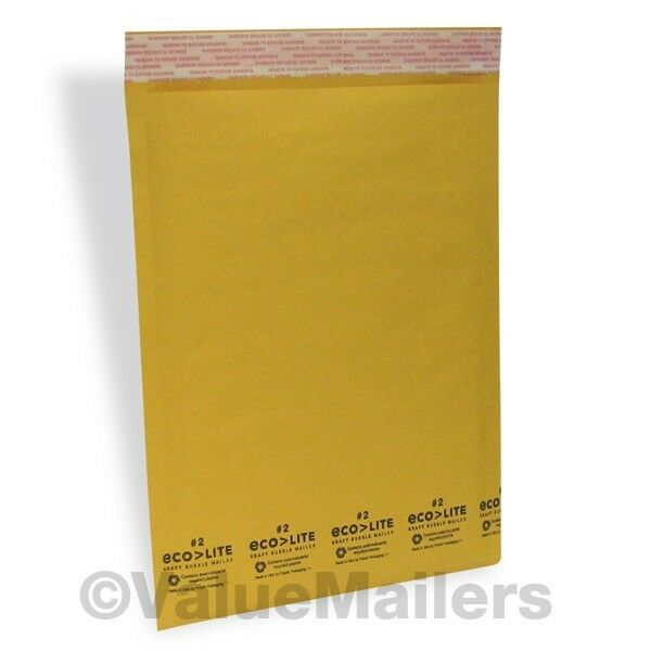 200 #2 8.5x12 Kraft Ecolite Bubble Mailers Padded Envelopes Bags 100 % USA