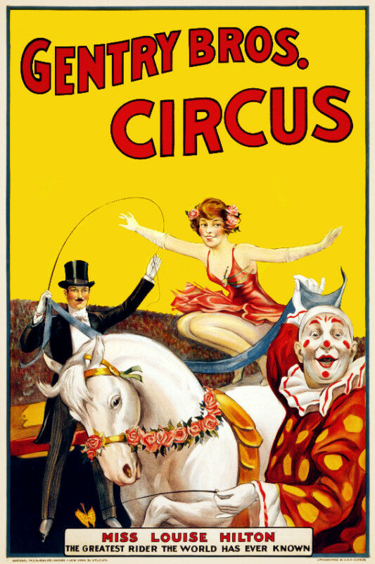 Vintage Circus POSTER.Clown Act.Room Art Decoration.House ...