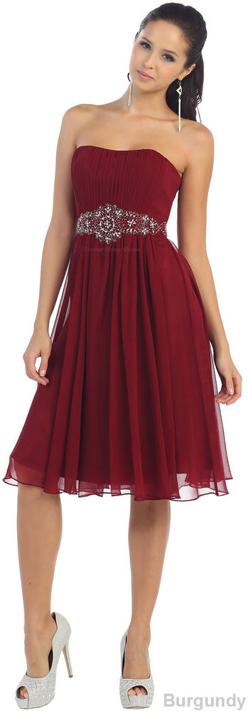 New simple short bridesmaid cocktail dress strapless semi for Semi formal wedding dresses plus size