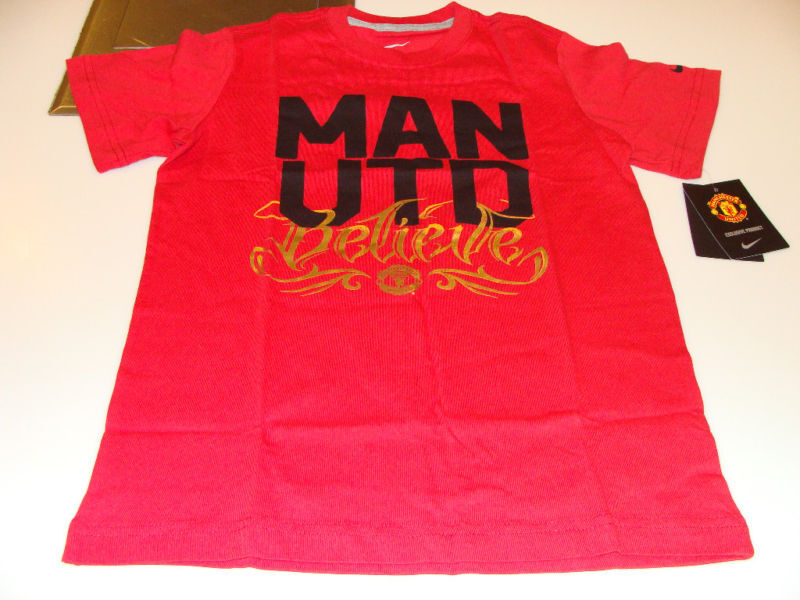 Manchester united soccer core t shirt l youth boys kids ebay for Boys soccer t shirts