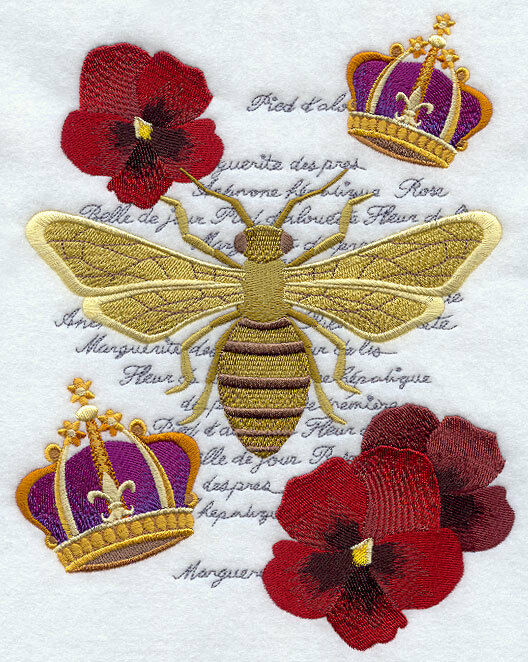 Napoleon bee collage embroidered set of hand towels by