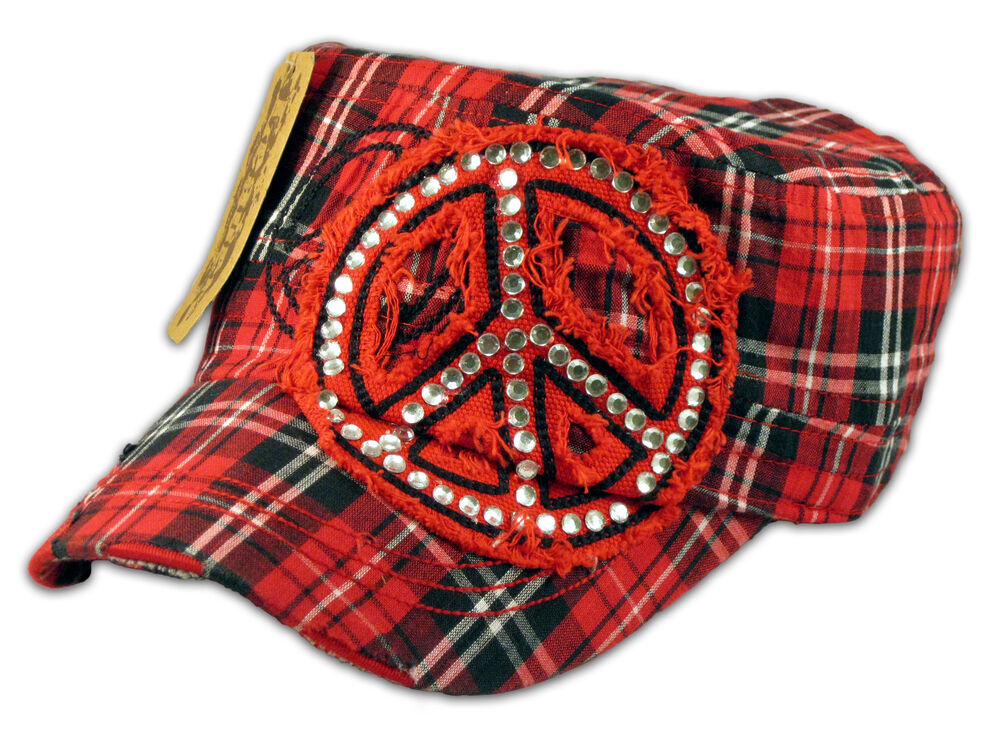 Red plaid cadet cap peace sign military hat ebay