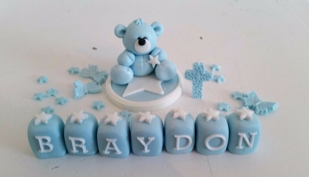 HANDMADE EDIBLE TEDDY CAKE TOPPER DECORATION CHRISTENING ...