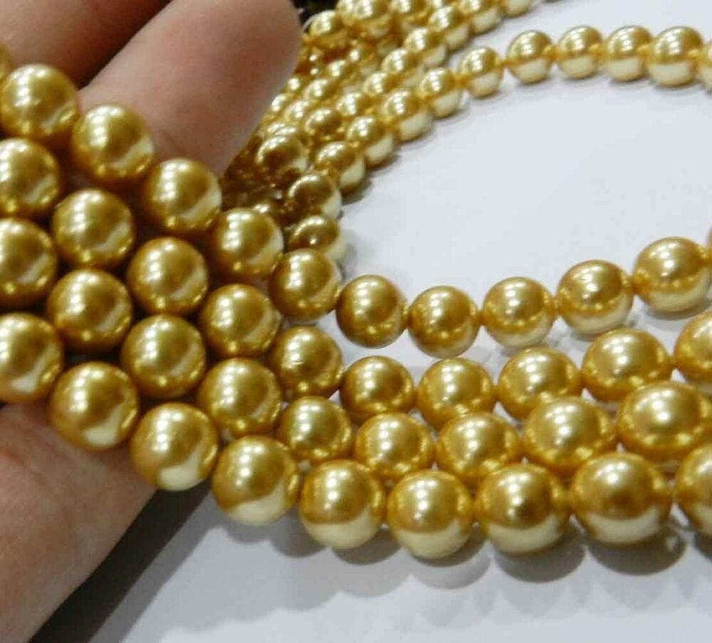 """Pearl Beads: 8mm Gold Akoya Round Shell Pearls Beads 15"""""""