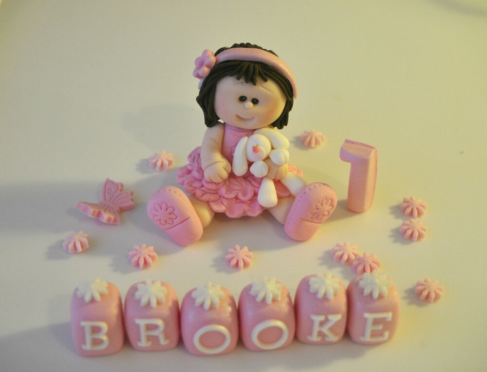 Edible princess christening baby girl teddy birthday cake for Baby footprints cake decoration