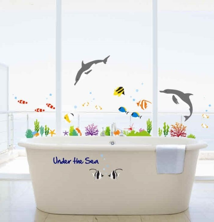 Under the sea bathroom decor dolphin fish wall stickers for Sea bathroom accessories