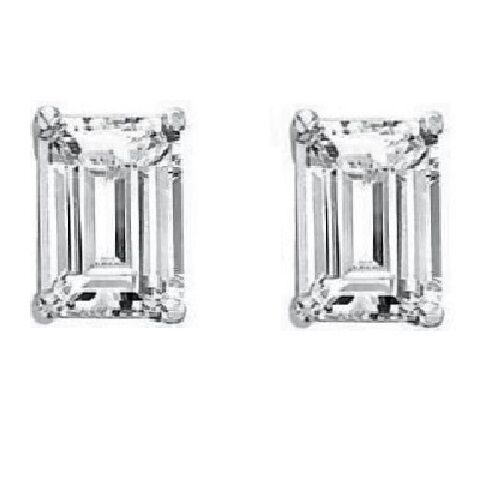 emerald cut stud earrings fancy emerald step cut cz cubic zirconia stud 4661