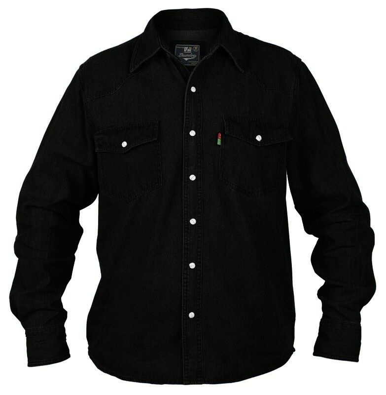 superb quality new mens duke western denim shirt black ebay