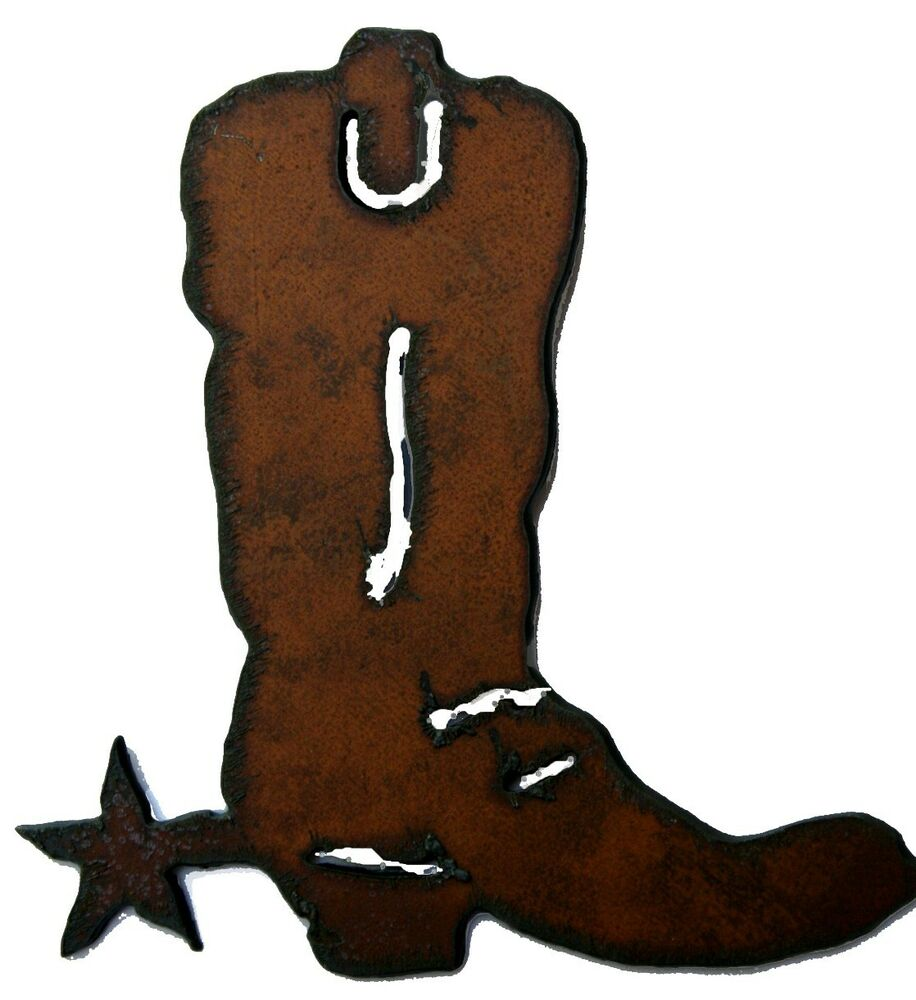 western home decor rustic metal kitchen magnet cowboy boot rustic magnet ebay. Black Bedroom Furniture Sets. Home Design Ideas