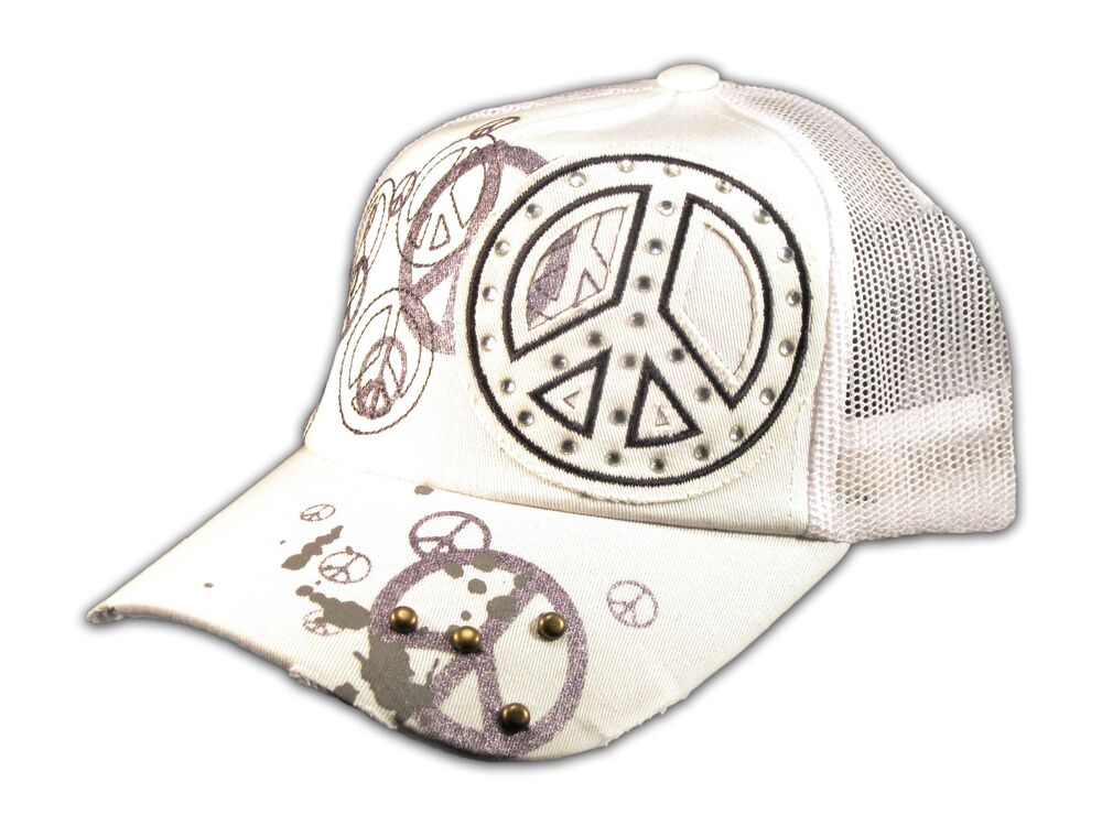 Peace sign on white trucker cap snapback hat with mesh