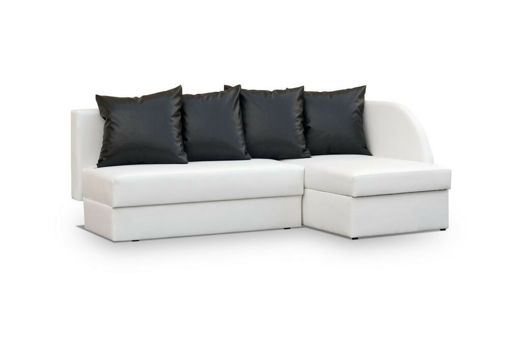 white faux leather corner sofa viola any colour any colours of cushions ebay. Black Bedroom Furniture Sets. Home Design Ideas