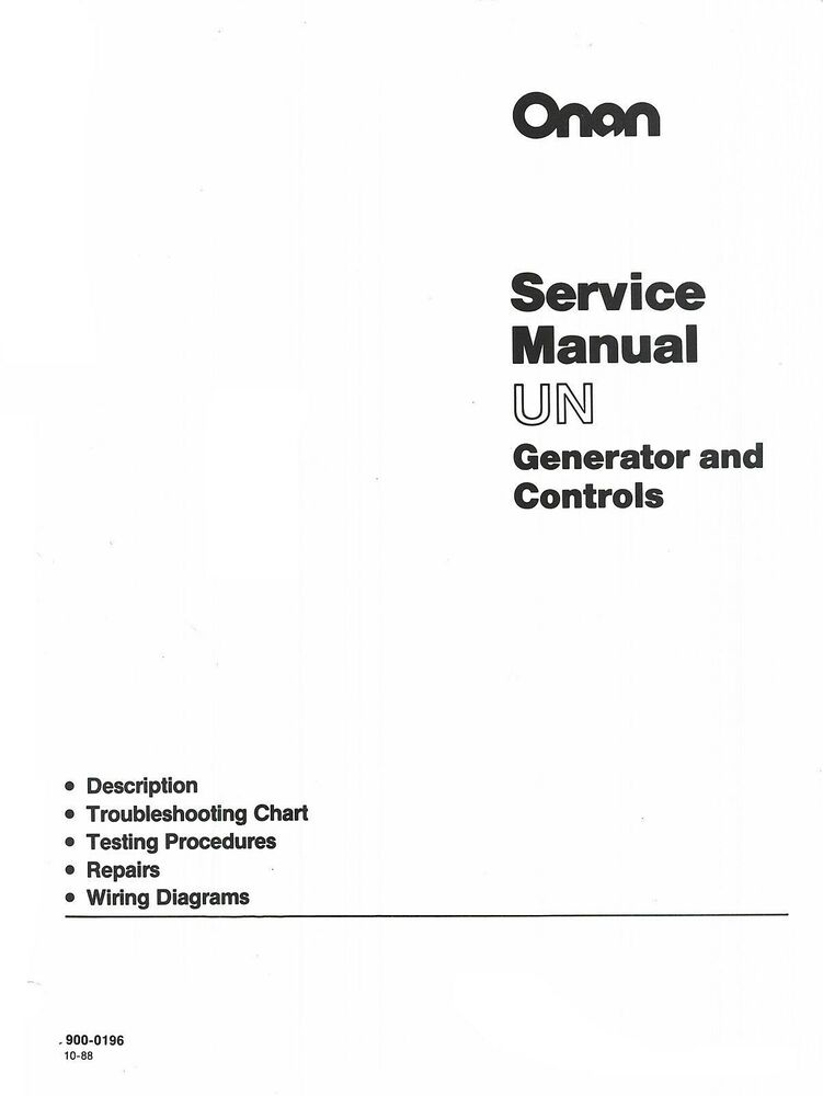 Onan Un Generator And Controls Service Manual Bf Nh Cck