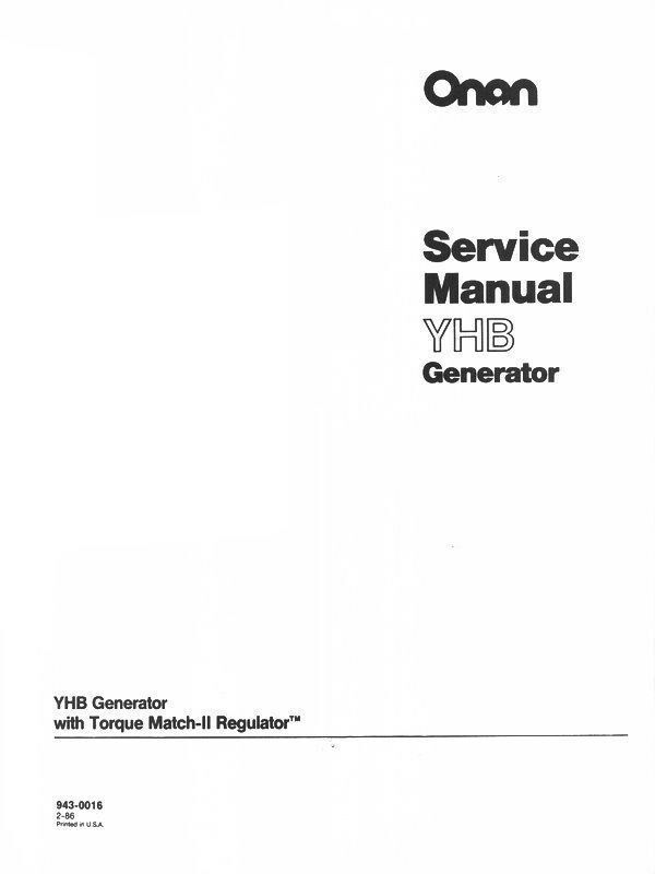 Onan Yhb Generator Torque Ii Regulator Service Manual