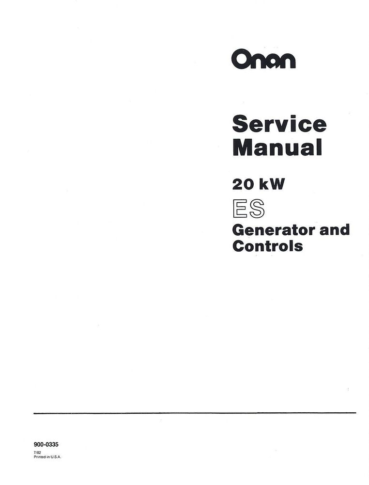 Onan 20kw Es Generator And Controls Service Manual
